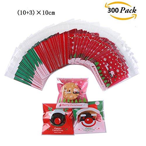 (300 Stück Partytüten / Candy Bags Selbstklebende Cellophan Geschenk Taschen (Christmas red))