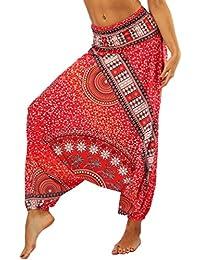 Lvguang Pantalones De Estilo Hippie De Los Mujer De La Vendimia del Estilo Nacional Pantalones Holgados