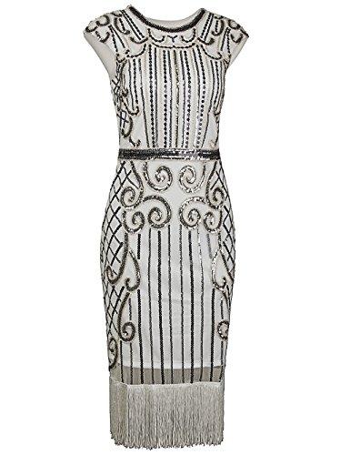 Vikoros Damen Cocktail Kleid, Paisley Gr. M/36-38, (Kleider Plus Size Silver)