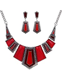 Yazilind vendimiae étnico Collar Negro de plata tibetana irregular diamante de imitación Pendientes Collar babero de la joyería