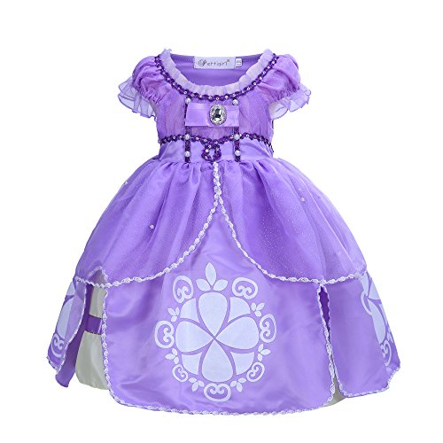 Kostüm Tangled Damen - Pettigirl Mädchen Prinzessin Kleid Fairy Perlen Kostüm Cosplay Halloween Karneval 7 Jahre