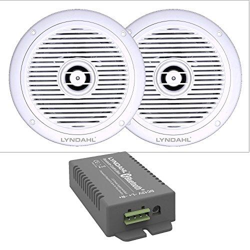 LYNDAHL Lautsprecher-Set, Bluetooth 4-Kanal + AUX Verstärker CS200BT-AMP und 2-Wege Einbaulautsprecher CS180IP, mit 2 oder 4 Lautsprechern, Deckenlautsprecher für Feuchträume Badezimmer oder Terrasse mit 2 Lautsprechern