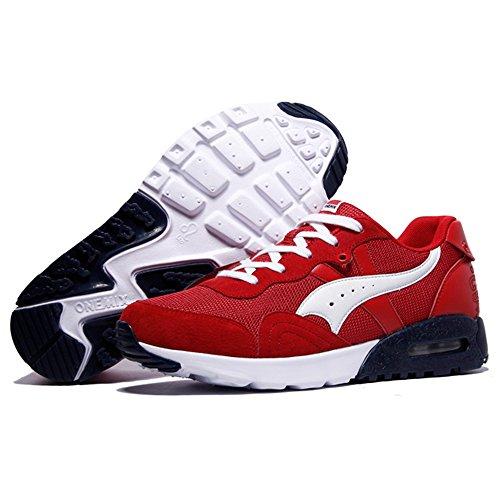 ONEMIX Air Scarpe Running Uomo donna Ginnastica Sportive Outdoor Sneakers Palestra Tennis Scarpe da Corsa Red White