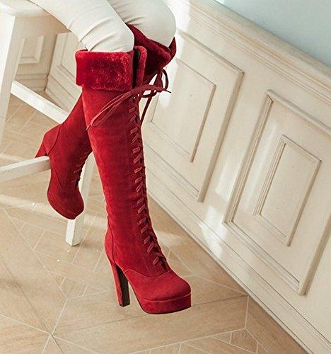 Mee Shoes Damen modern reizvoll runder toe mit Schnürsenkel Plateau Langschäfter Stiefel mit hohen Absätzen Rot