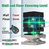 Kreuzlinienlaser Grün 3D Grünes Licht Laser Level 12 Linie Mit IP54 Staubdicht Und Wasserdicht, Hoher Präzision, Intelligenter Fernbedienung, Einstellbarer Höhe
