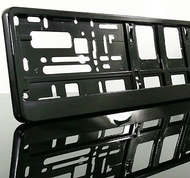 A PAIR (2x1) of PURE BLACK Car Registration License Number Plate UNIVERSAL Surround Holder Frame - BARGAIN!