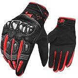 INBIKE Motorrad handschuhe Herren Damen Motorradhandschuhe Atmungsaktivität Strapazierfähig Hartschalen-Schutz für Motorrad Radfahren Camping Outdoor(Schwarz&Rot,L) IM803