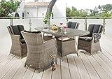 Destiny 5 tlg Sitzgruppe Luna Gartensessel Geflechtisch 200x100 Gartenmöbel Vintage Grau
