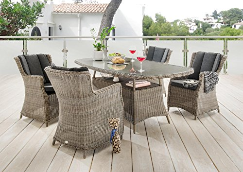 Destiny 5 tlg Sitzgruppe Luna Gartensessel Geflechtisch 180x100 Gartenmöbel Vintage Grau