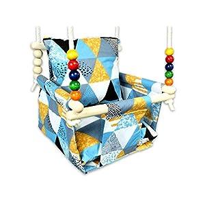 BlueKitty Schaukel für Kinder; Babyschaukel; Kinderschaukel mit Kissen; Schaukel für Haus und Garten, Babyschaukel…