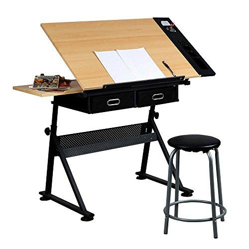 Yaheetech Zeichentisch Architektentisch Schreibtisch, Bürotisch neigungsverstellbar, mit Schubladen und Hocker (Zeichner Tisch)
