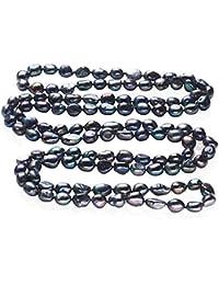 57195f7123bb TreasureBay - Collar de perlas barrocas de 9 a 10 mm de largo