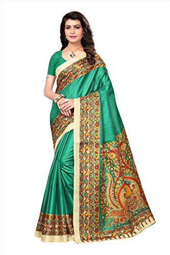 Art Decor Saree Printed Cotton Blended Kalamkari Art Silk Saree (Rama Green)