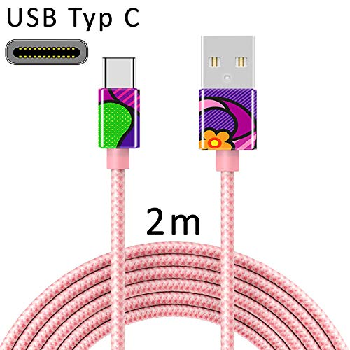 TheSmartGuard USB C Kabel USB-Typ-C Ladekabel Nylon Datenkabel mit USB-Type-C Anschluss kompatibel für Samsung S10/S9/S8, Huawei P30/P20, UVM | 2 Meter/2m Rose-Gold | Girl Pop Art Frau Bunt Lila -