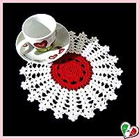 Kleine rounde weiße und rote Häkeldeckchen aus Baumwolle - Größe: ø 19.5 cm - Handmade - ITALY