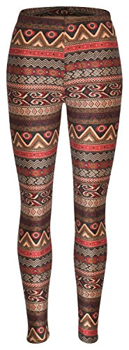 Piarini Winter-Leggings mit Teddy-Innenfleece | Thermo-Leggings extra kuschelig warm in Ethno-Style 1 Gr.S-M (Fleece-kleid)
