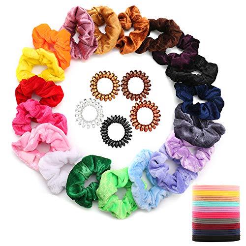 DazSpirit 20Pcs Haargummis Samt Elastische Hair Bands + 30Pcs Farbe Elastic Rubber Hair Bands + 5Pcs Crystal Clear Telefonkabel Haarspulen für Pferdeschwanz Frauen oder Mädchen Haarschmuck -