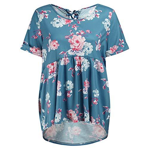 Damen Blumenkurzarm Rundhals Schnürung Zurück Plissee Ausgestellt Bequem Loose Fit Tunika Top Bluse