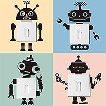 decalmile 4 Piezas Interruptor Pegatinas de Pared Robot Vinilos Decorativos Pared para Habitacion Bebe Dormitorios Infantiles