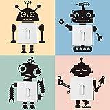 decalmile 4 Stück Roboter Lichtschalter Wandtattoo Aufkleber für Lichtschalter Kinderzimmer Babyzimmer Wanddeko (Schwarz)