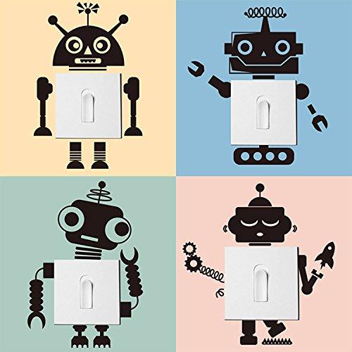 decalmile 4 Piezas Interruptor Pegatinas de Pared Robot Vinilos Decorativos Pared para Habitacion Bebe Dormitorios Infantiles (Negro)