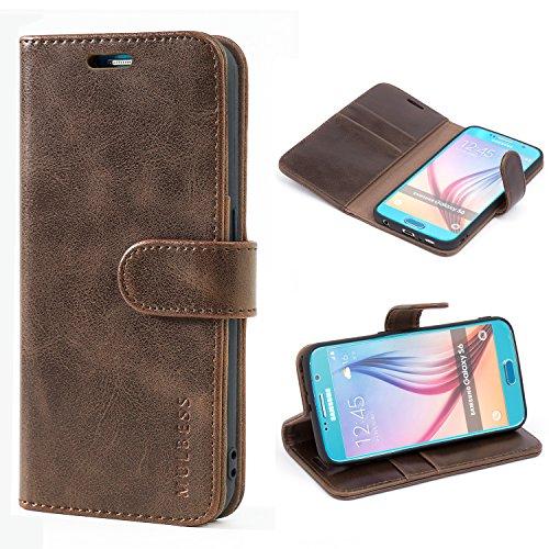 Mulbess Handyhülle für Samsung Galaxy S6 Hülle, Leder Flip Case Schutzhülle für Samsung Galaxy S6 Tasche, Vintage Braun