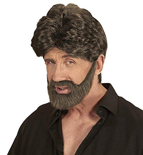 Widmann wdm04655 - set parrucca e barba uomo castana, multicolore, one size