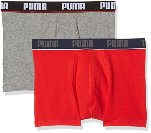 "Puma mutande da uomo ""basic boxer new waist band 2p"", uomo, basic boxer new waistband 2p, red/grey melange, l"