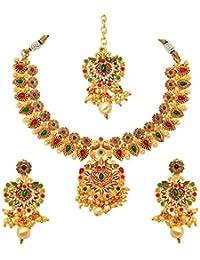 Atasi International Peacock Multicolor Floral Theme Bridal Designer Jewellery Set For Women