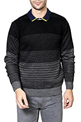 People Mens Sweater (8903880910952_P10101188009100_Medium_Black and Grey)