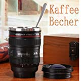 EMOTREE Kaffeetasse Kameraobjektiv Mug EF 24-105mm Lens Becher Trinkbecher Kamera Objektiv Schwarz