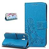 Galaxy S3 Mini Hülle,S3 Mini Hülle,S3 Mini Hülle,Prägung Klee Blumen Muster PU Lederhülle Flip Hülle Cover Schale Ständer Etui Schutzhülle Blau Tasche Wallet Case für Galaxy S3 Mini,Klee Blumen:Blau