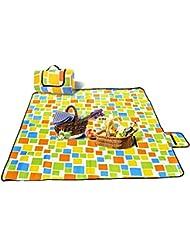 OTraki Manta de Picnic Impermeable Resistente a la humedad Plegable and Protale Alfombra Alcochada para Picnic Playa y Camping(200x200cm)Orange