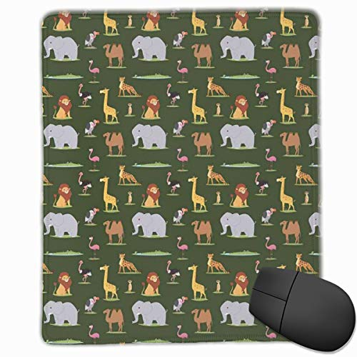 Mouse Mat Stitched Edges, Animals Of The Dark Continent Giraffe Leopard Elephant And Camel Educational Cartoon,Gaming Mouse Pad Non-Slip Rubber Base -