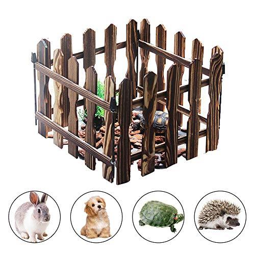 Runkeu pet box recinzione pet pet gate, recinzione per animali carbonizzata recinzione tartaruga coniglio di legno recinzione tartaruga in legno per uso esterno coperto, 4 pezzi