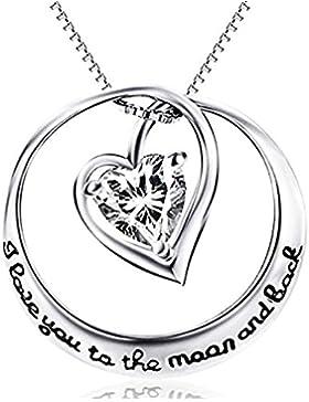ROTY 51CM Damen Anhänger Halskette Beschichtet  925 Sterling Silber, Herz Kristall Anhänger Schmuck mit Gravur