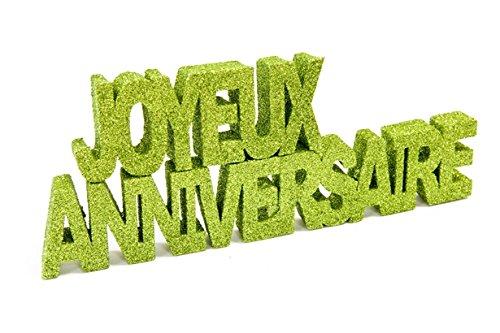 Centre de table anniversaire paillettes vert anis