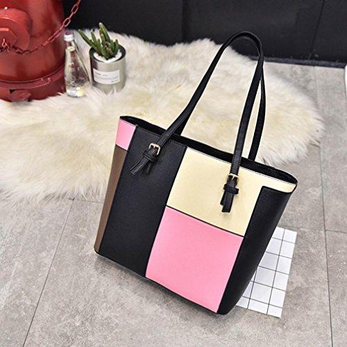 Zarupeng Frauen Art und Weise PU Leder Stitching Handtaschen Schulter Beutel Pink