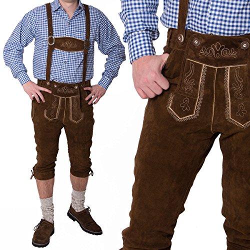 Meloo Trachtenhose Herren Trachten Kniebund Lederhose Bayerische Kostüm Trachtenmode Schwarz Dunkelbraun Hellbraun (64, Dunkelbraun)