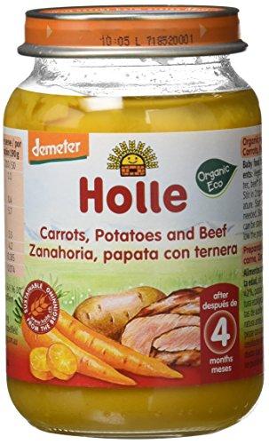 Holle Potito de Zanahoria, Patata con Ternera (+4 meses) - Paquete de 6 x 190 gr - Total: 1140 gr