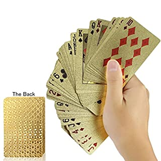 Luxury Gold Foil Gold Plated Poker Playing Cards Deck Waterproof Durable Golden Poker Cards with Box Perfect for Gift