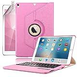 BORIYUAN Ipad Mini 4 Bluetooth Tastatur Hülle, abnehmbare Wireless Bluetooth Tastatur PU Hülle mit 360 Grad drehbarer Ständer für Apple iPad Mini 4 (Rosa)