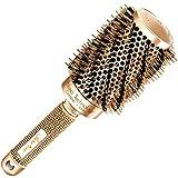 Beste Rundbürste zum Haare trocknen/föhnen, mit natürlichen Wildschweinborsten für Föhne (53 mm) - Haarstylingprodukt in Profi-Salonqualität für gesunde, seidig, glänzende, glattes Haar