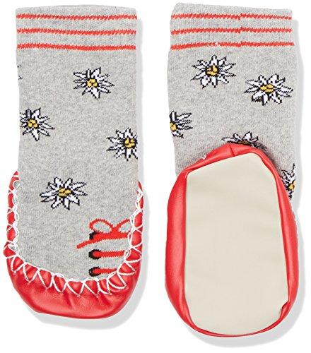 Playshoes Kinder-Hüttenschuhe aus Baumwolle, Hausschuhe für Mädchen und Jungen mit rutschhemmender Sohle, mit Blumen-Muster, Grau (Grau/melange 37), 17-18