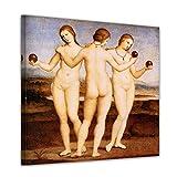 Kunstdruck - Alte Meister - Raffael - Die DREI Grazien - 40x40cm einteilig - Leinwandbilder - Bilder als Leinwanddruck - Bild auf Leinwand