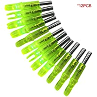 Pgige 12PCS / Set LED Luminous Arrow Nock Caza al Aire Libre Tiro con Arco Flecha Luz Trasera (Amarillo)