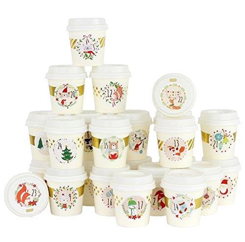 Papierdrachen Calendario de Adviento DIY en Tazas de café - para Personalizar y Rellenar - Muchas imágenes Decorativas - 24 Tazas de café para Llevar