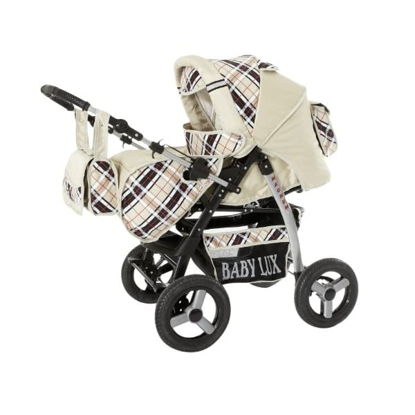 Lux4Kids Magnum Pram & Pushchair (raincover, mosquito net, cup holder, changing pad) 66 Beige & Diamonds  Buggy accessories - Offer all included - 3 free items - More about www.youtube.com/Lux4Kids Solid steel construction, adjustable handlebar height, hood / hood adjustable, buggy converts to pram. Made in EU (DIN EN1888 / 2005) 1