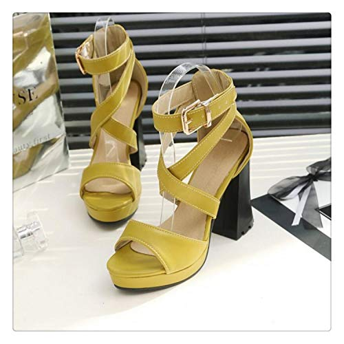 happy&live High Heels Cross Peep Toe Sandals Women's Sexy Platform Ultra Fish Head Thin Heels Party Sandals Plus Size Gladiator Yellow 4