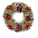 Initial heart Corona di Natale Red Berry Ciondolo Corona in Rattan Ghirlanda Decorazioni Natalizie, Corona per Il Natale Decorazioni Esterne Indoor,Rosso
